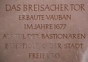 Breisacher Tor - Schrifttafel
